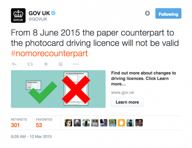Example of a @GOV.UK tweet and Twitter card about the abolition of the driving licence counterpart