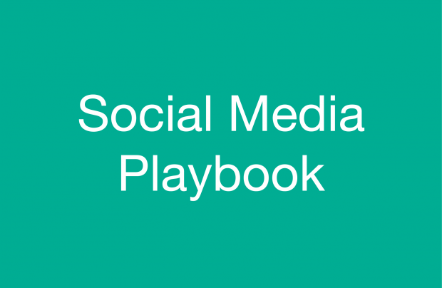 "Turquoise image with ""Social Media Playbook"" written on it."