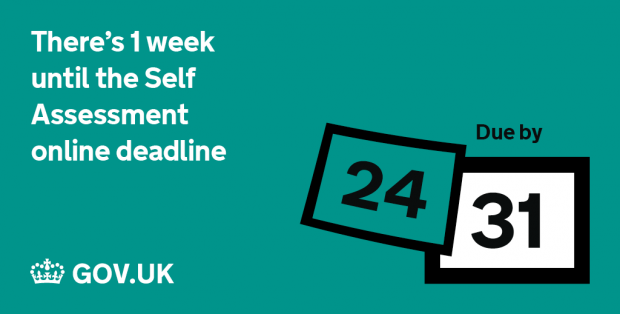 Graphic reminding users that there's a week until the Self Assessment online deadline