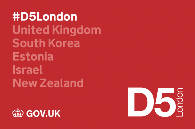 Graphic relating to the D5 London event - featuring the names of the participating countries: UK, South Korea, Estonia, Israel and New Zealand