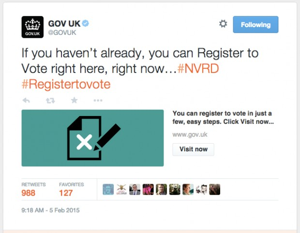 Register to vote tweet with 973 retweets (at time of tweet)