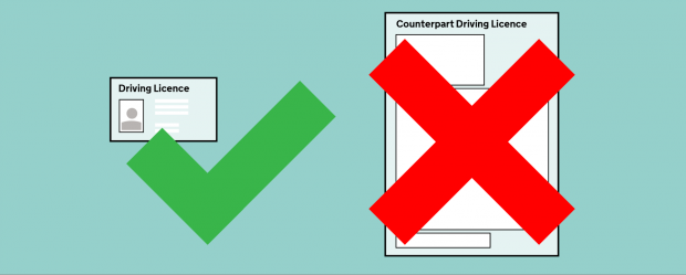 A graphic illustrating the abolition of driving licence paper counterparts
