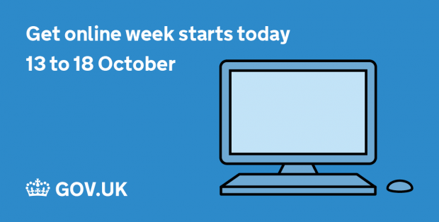 "Graphic depicting an illustration of a computer and reminding users that ""Get online week starts today"""