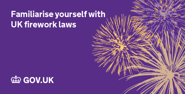 Image of firework with the words 'Familiarise yourself with UK fireworks laws'