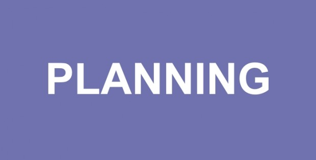 Plain, purple image showing the world 'Planning' in the middle