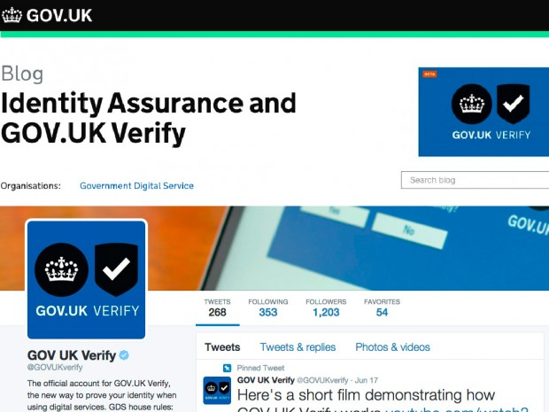 Collage image consisting of an GOV.UK Verify website image on top and @GOVUKVerify twitter at the bottom