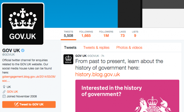 Screenshot of the @GOVUK twitter account showing 1million followers