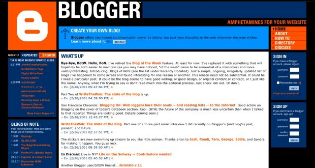 Screenshot of bloger.com with a line that says 'amphetamines for your website'
