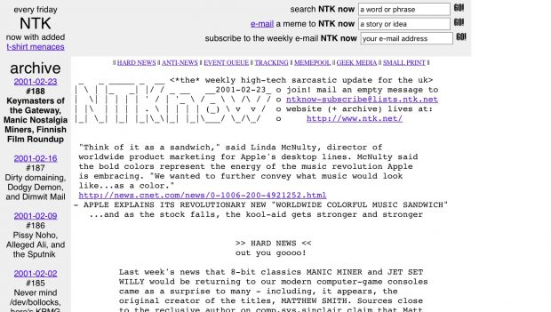 Screenshot of 'every friday NTK' live website