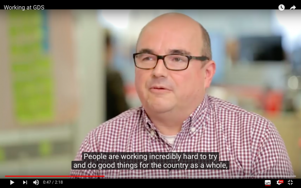 Screen shot from a GDS video. Transformation lead Simon Everest is speaking to camera and his spoken words are shown as captions.